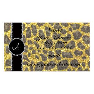 Gelber Glitterneonleopard des Monogramms Visitenkarten