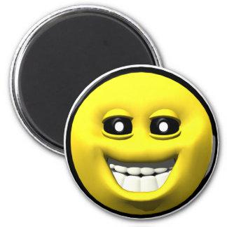 Gelber glücklicher smiley runder magnet 5,1 cm