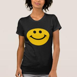 Gelber glücklicher Smileyschwarz-T - Shirt
