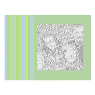 gelber grauer Fotorahmen der blauen Streifen Postkarte
