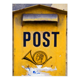 Gelber griechischer Postbox Postkarte