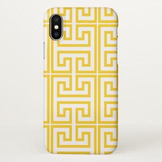 Gelber griechischer Schlüsseldruck iPhone X Hülle