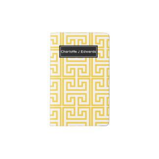 Gelber griechischer Schlüsseldruck Moleskine Taschennotizbuch