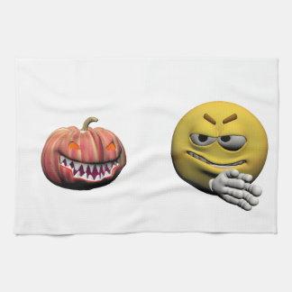 Gelber Halloweenemoticon oder -smiley Küchentuch