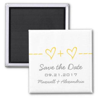 Gelber Herz-Gleichungs-Save the Date Magnet Quadratischer Magnet