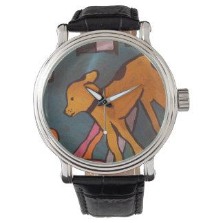 Gelber Hundemalerei-Uhr durch Willowcatdesigns Armbanduhr