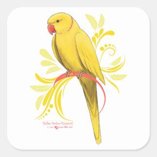 Gelber Inder Ringneck Papagei Quadratischer Aufkleber