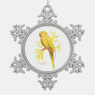 Gelber Inder Ringneck Papagei Schneeflocken Zinn-Ornament