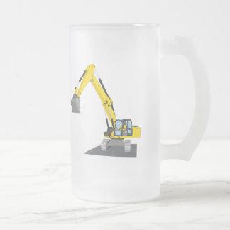 gelber Kettenbagger Mattglas Bierglas