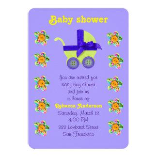 Gelber Kinderwagen, Rosa, lila genähte Blumen Karte