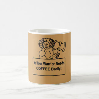 Gelber Krieger benötigt Kaffee-schlecht - Kaffeetasse