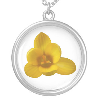 Gelber Krokus-Blumenhalskette Versilberte Kette