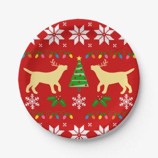 Gelber Labrador-Geweih-WeihnachtsPappteller Pappteller