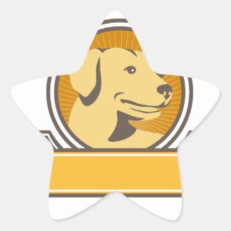 Gelber Labrador-golden retriever-Kopf-Kreis Retro Stern-Aufkleber