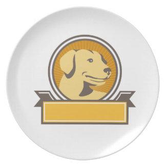 Gelber Labrador-golden retriever-Kopf-Kreis Retro Teller