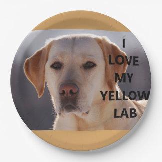 gelber Labrador-Liebe w pic Pappteller