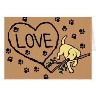 Gelber Labrador-Sand beschriftet Cartoon Karte