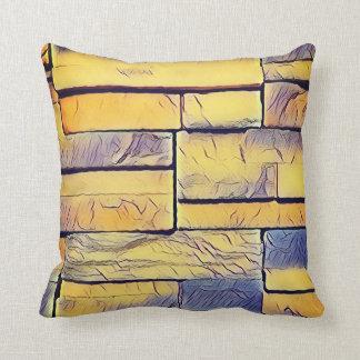Gelber Lavendel-flippige Schichten Ziegelsteine Kissen