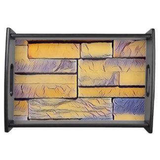 Gelber Lavendel-flippige Schichten Ziegelsteine Tablett