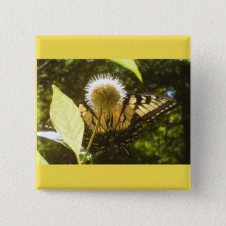 Gelber Monarch-Knopf Quadratischer Button 5,1 Cm