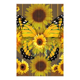 Gelber MONARCHFALTER u. Sonnenblume KUNST Briefpapier