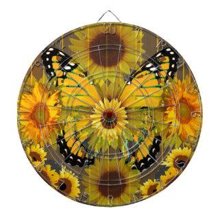 Gelber MONARCHFALTER u. Sonnenblume KUNST Dartscheibe