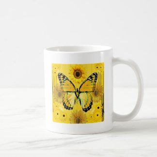 Gelber MONARCHFALTER u. Sonnenblume KUNST Kaffeetasse