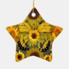 Gelber MONARCHFALTER u. Sonnenblume KUNST Keramik Ornament