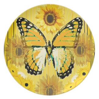 Gelber MONARCHFALTER u. Sonnenblume KUNST Melaminteller