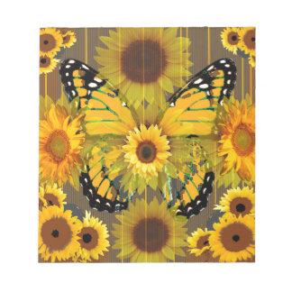 Gelber MONARCHFALTER u. Sonnenblume KUNST Notizblock