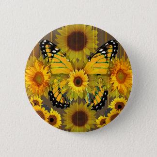 Gelber MONARCHFALTER u. Sonnenblume KUNST Runder Button 5,1 Cm