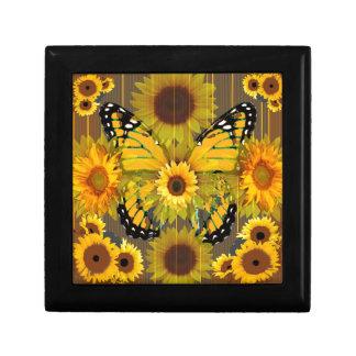 Gelber MONARCHFALTER u. Sonnenblume KUNST Schmuckschachtel
