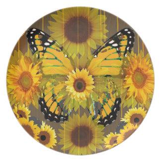 Gelber MONARCHFALTER u. Sonnenblume KUNST Teller