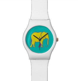 Gelber mutiger Cartoon-Elefant-stilvolles Uhr