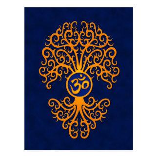 Gelber OM-Baum auf Blau Postkarte