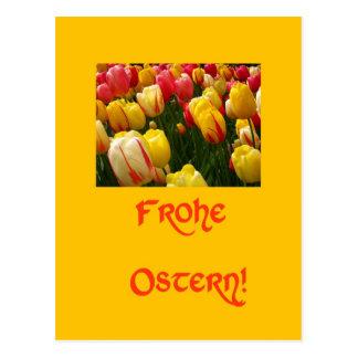 gelber Ostern-Gruß der Mischtulpen auf Deutsch Postkarte