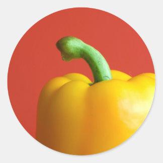 gelber Paprika Runder Aufkleber