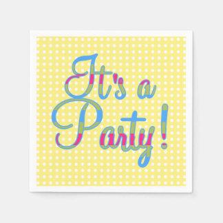 Gelber Polka-Punkt ist es ein Party, Papierserviette