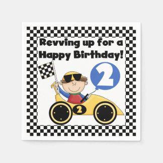 Gelber Rennwagen-2. Geburtstags-Papierservietten Serviette
