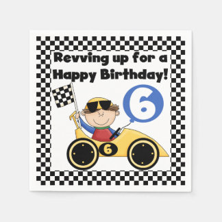 Gelber Rennwagen-6. Geburtstags-Papierservietten Servietten