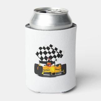 Gelber Rennwagen mit Zielflagge Dosenkühler
