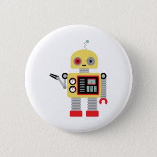 Gelber Roboter Runder Button 5,7 Cm