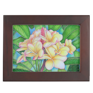Gelber rosa Plumeria Erinnerungsdose
