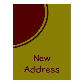 Gelber roter Kreis-neue Adresse Postkarte