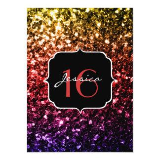 Gelber roter lila Bonbon 16 Glitzern des 14 X 19,5 Cm Einladungskarte