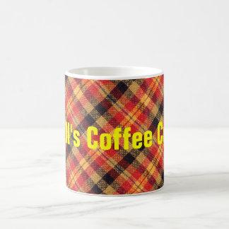 Gelber roter und schwarzer diagonaler karierter kaffeetasse