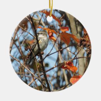 Gelber-rumped Warble im Winter Keramik Ornament
