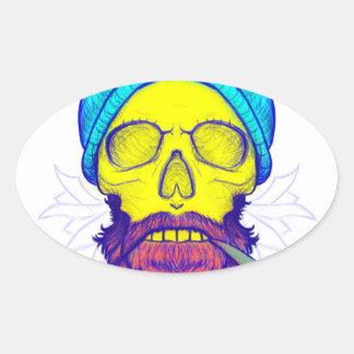 Gelber Schädel-Pfeife Ovaler Aufkleber