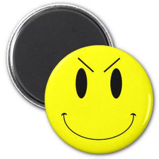 Gelber schlechter Smiley KRW Runder Magnet 5,1 Cm