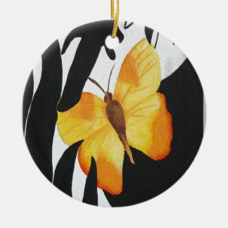Gelber Schmetterling Keramik Ornament
